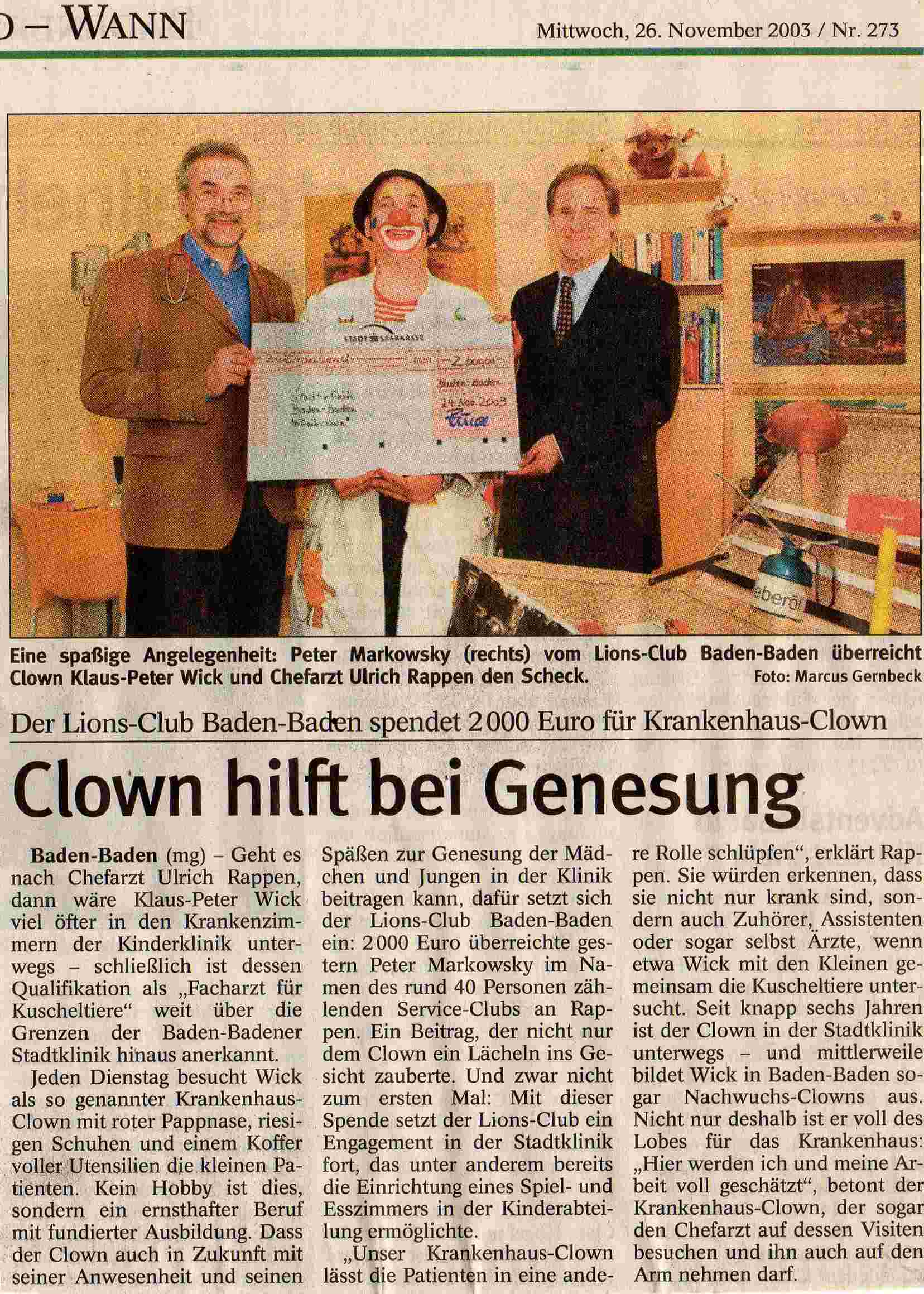 clowndoktor_badisches_tagblatt_november_2003